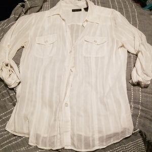 New York and Company sheer white button up